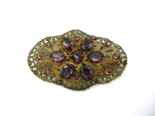 12fcfc3b4 Art Deco CZECH Glass Brooch amethyst crystal & antique gold - 1930  Antique Large Neiger