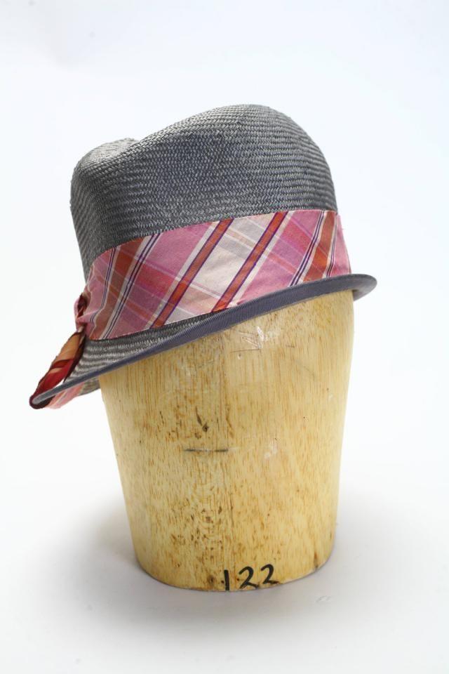 d3acdd48 Gray Straw Fedora Spring/Summer Hat with Asymmetrical Brim and Pink Raw  Silk Ribbon-