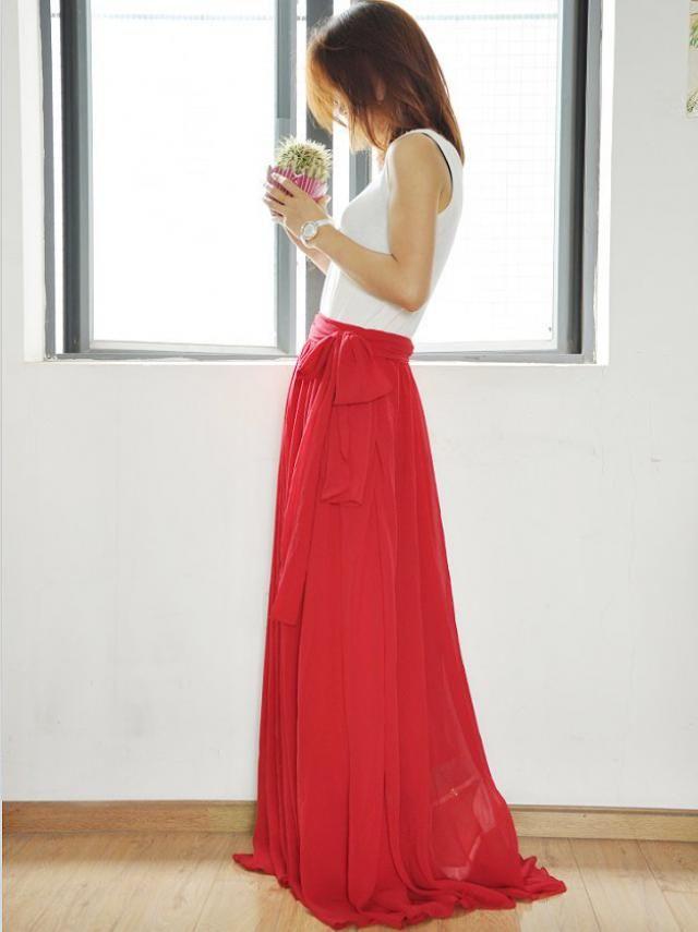 3e6ce3c89f27ca Plus Size Maxi Skirt Chiffon Silk Skirts Beautiful Bow Tie Pink Elastic Waist  Summer Skirt Floor