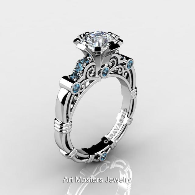 6a89e3ddb28958 Art Masters Caravaggio 10K White Gold 1.0 Ct White Sapphire Aquamarine Engagement  Ring R623-10KWGAQWS