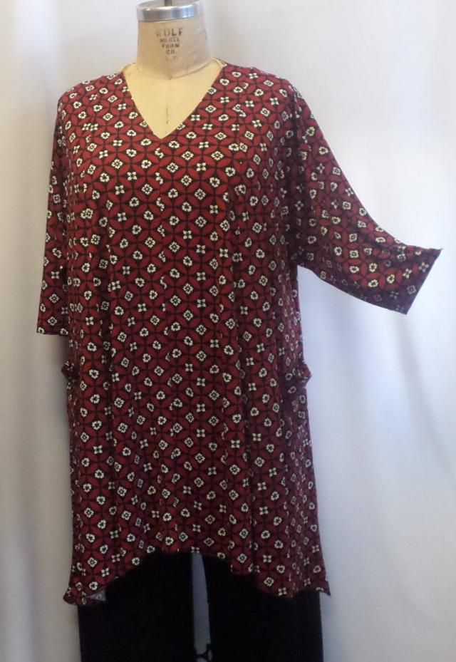 0ab882e160d Coco and Juan, Lagenlook, Plus Size Top, Red Black Print, Traveler Knit