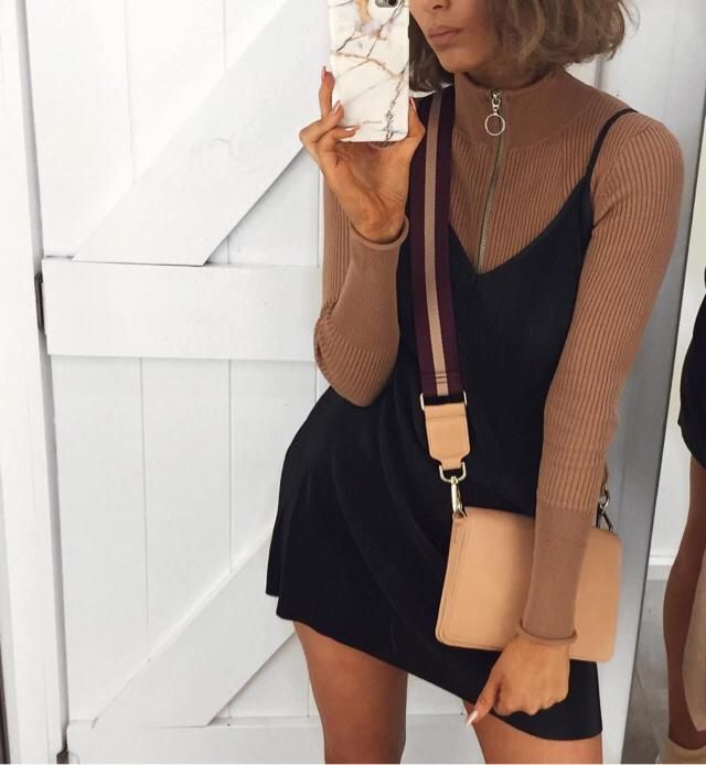 How cute is this outfit ❤️ omg i just love the turtleneck sweater and the black dress! It's a great combination ❤️❤️❤️ …