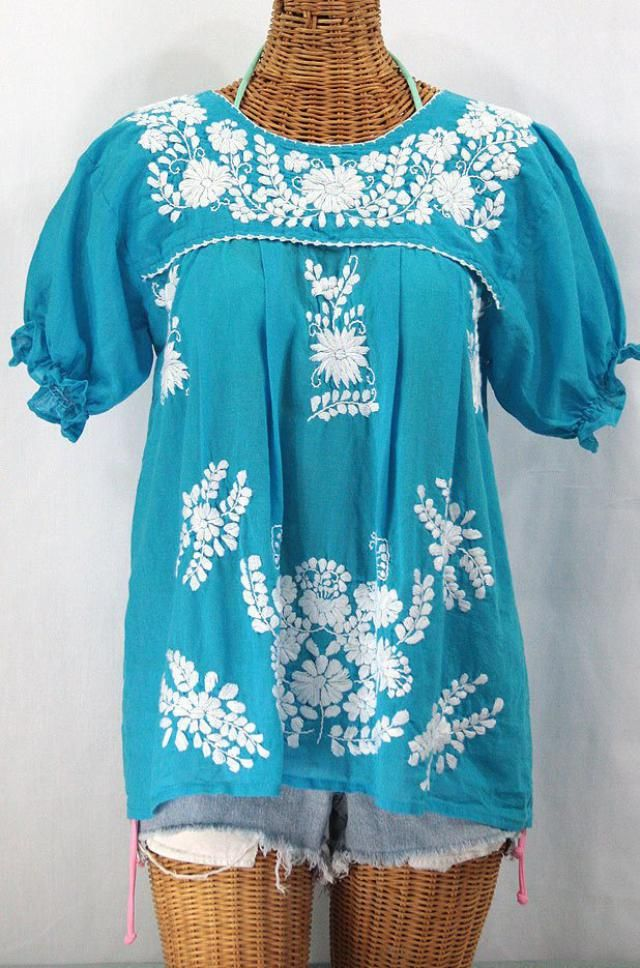 4faf30361ee Mexican Peasant Blouse Top Hand Embroidered   quot La Mariposa quot   Turquoise ~ Size MEDIUM