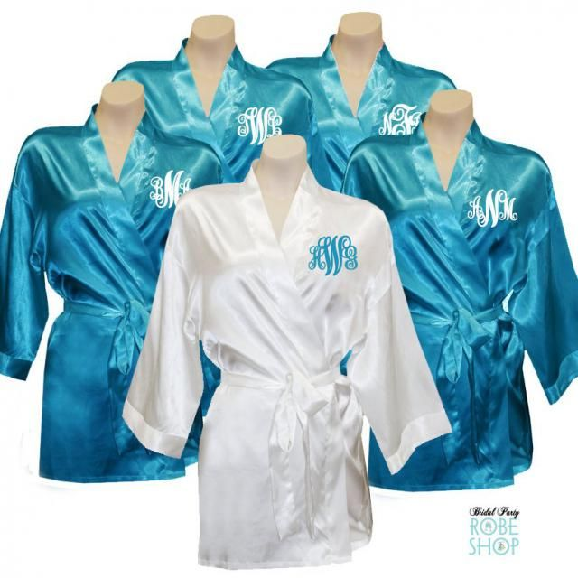 Bridal Party Satin Robes - Something Blue Monogrammed Package of 5 c915eceda