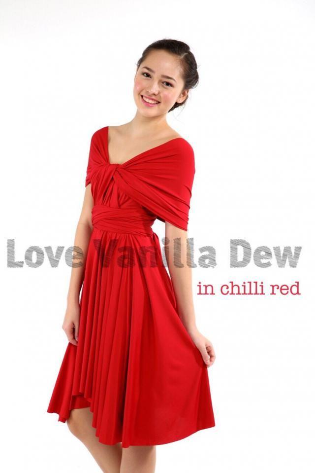 ad2c53e8c Bridesmaid Dress Infinity Dress Chilli Red Knee Length Wrap Convertible  Dress Wedding Dress