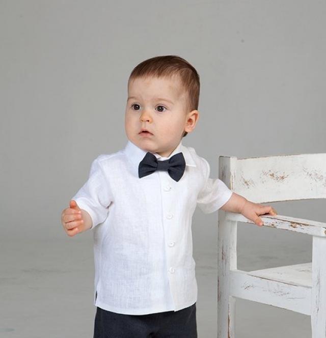 783ec3cf6d Baby boy linen shirt bow tie Ring bearer white shirt Baby boy wedding shirt  Baptism shirt