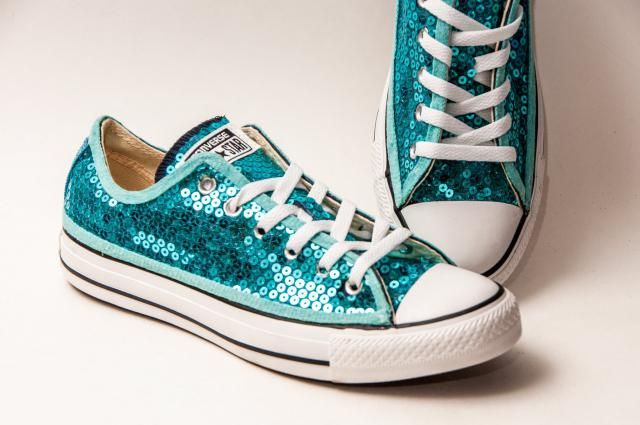 Sequin - Malibu Blue Canvas Converse® Low Top Sneakers Shoes dee1cd311