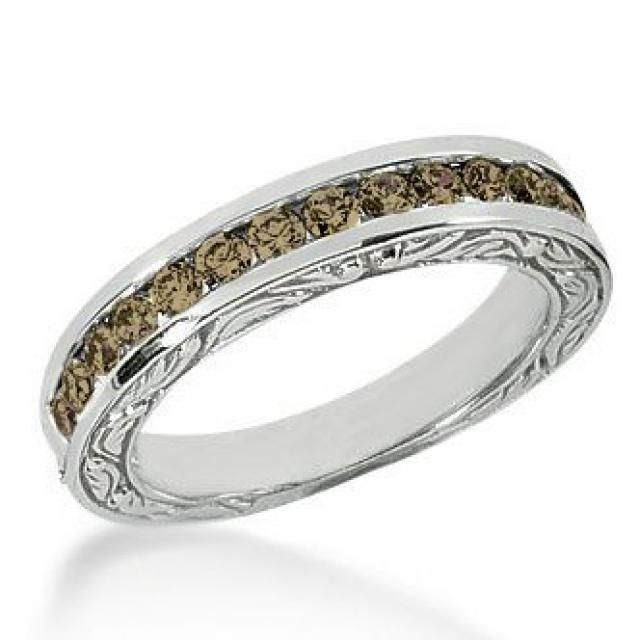 Jewelry & Watches The Best 1 Carat Blue Diamond Bubbles Antique Full Eternity Band Ring 14k Yellow Gold Be Friendly In Use