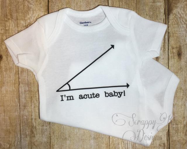 56b0a0674 Baby Onesie, Acute Nerd Baby Onesie, Funny Baby Onesie, Math Geek Onesie,