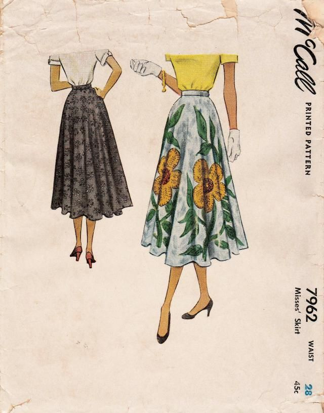 1f17b8505504 Vintage 50s Sewing Pattern / McCall 7962 / Skirt / Waist 28