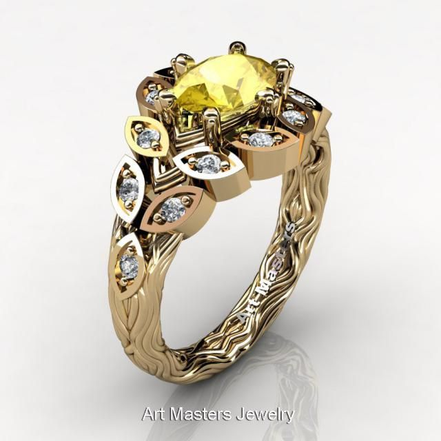 0fc87b5c63c Art Masters Nature Inspired 14K Yellow Gold 1.0 Ct Oval Yellow Sapphire Diamond  Leaf and Vine