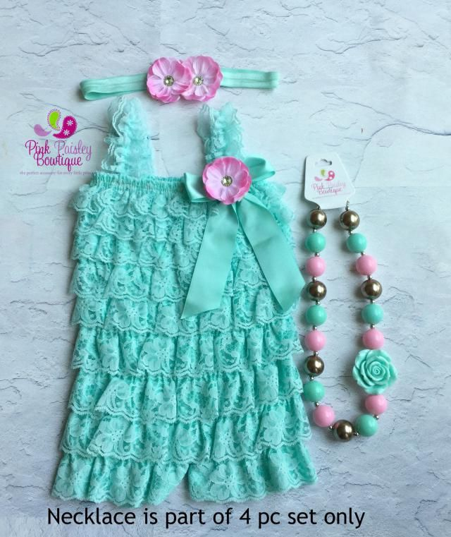 a5df650b496 Newborn Coming home outfit 3 or 4 PC Aqua Pink Lace Petti Romper. Aqua  Vintage