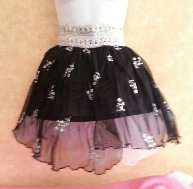e463d41fcb Beautiful Black & Metallic Silver Embroidered Lace Sheer Tulle East  Indian Inspired Tutu Skirt Bridal