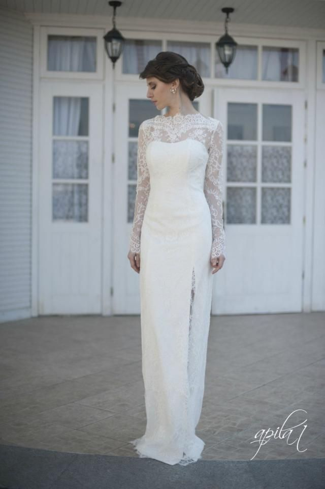5c7b6a8245a55 Fitted Style Lace Wedding Dress with Lace Sleeves L38