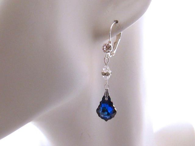 a2e9f36df Dark Blue Crystal Earrings, Swarovski Blue Bridal Earrings: Blue Wedding  Jewelry, Special Occasion