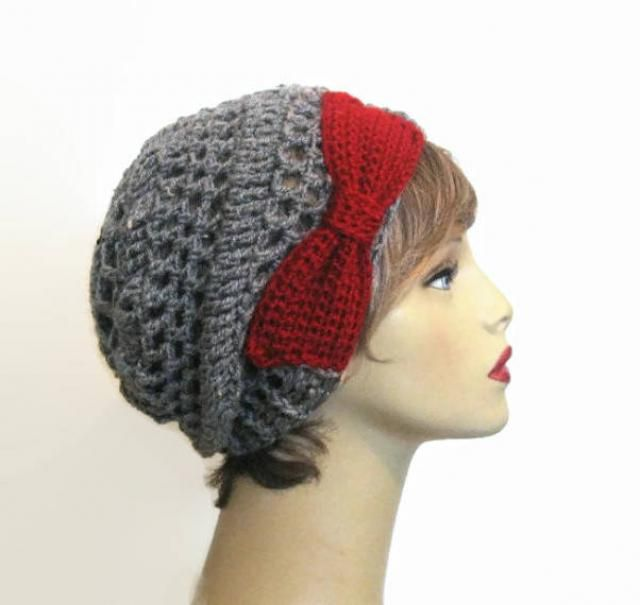 eed1d527197 Gray Crochet Slouchy Hat Gray Tweed Hat With Bow Gray knit Beanie  Lightweight Hat Crochet Slouch