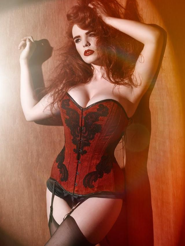 a4d73e755d BESPOKE Deep Red overbust corset with Black Lace appliqué