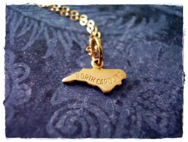 Tiny Gold North Carolina State Necklace - Raw Brass North Carolina Charm on a Delicate 14kt Gold Filled Cable Chain or …