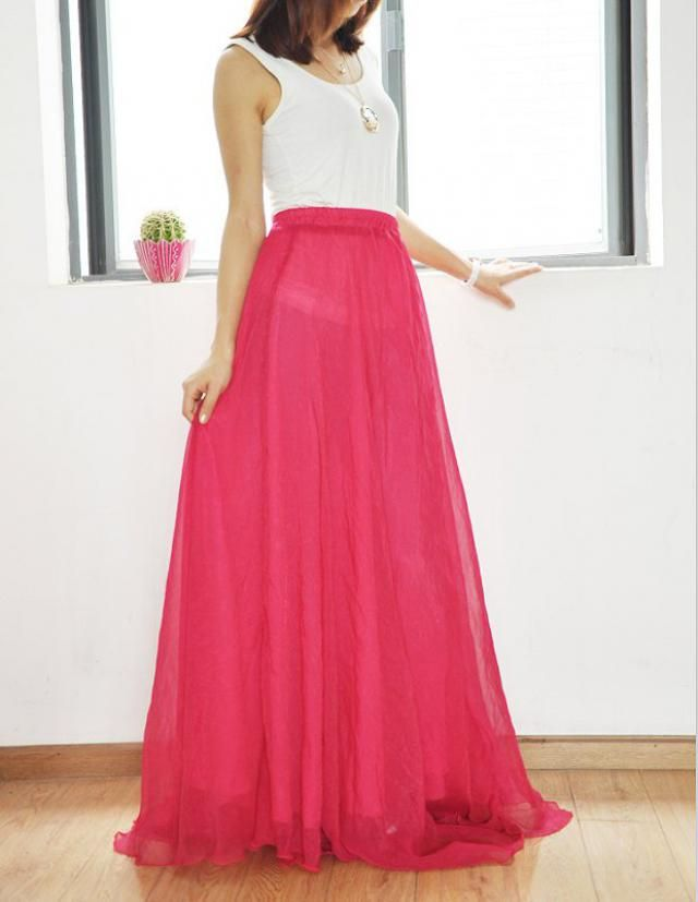 35d7168fa30c65 Chiffon Maxi Skirt High Waist Long Skirt Silk Skirts Elegant Elastic Waist  Summer Skirt Floor Length