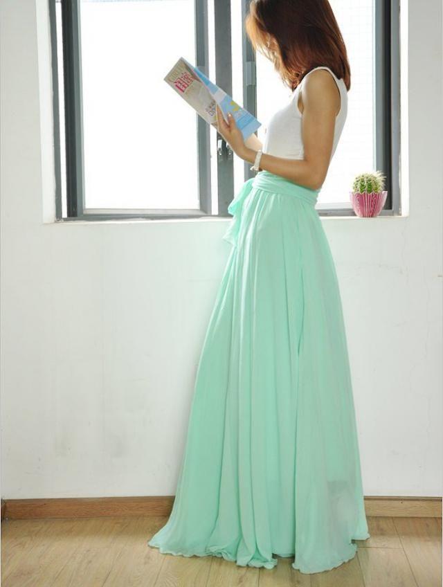 515f1aa87cbaf2 High Waist Maxi Skirt Chiffon Silk Skirts Beautiful Bow Tie Elastic Waist  Summer Skirt Floor Length