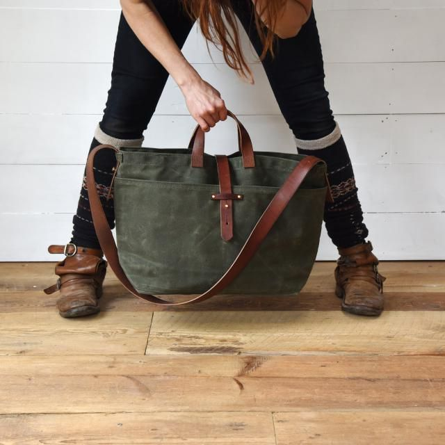 4117650f6c693 Large Waxed Canvas Tote Bag with Zipper option, Crossbody Bag Everyday Bag