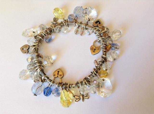 5ca516f8d Charm Bracelet - Crystal Charm Bracelet - Sterling Silver Charm Bracelet - Heart  Charm Bracelet -