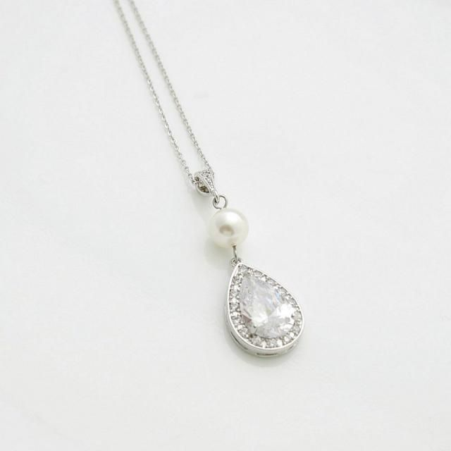 10k White Gold Bohemia Leaf Feather CZ Pendant Necklace Small
