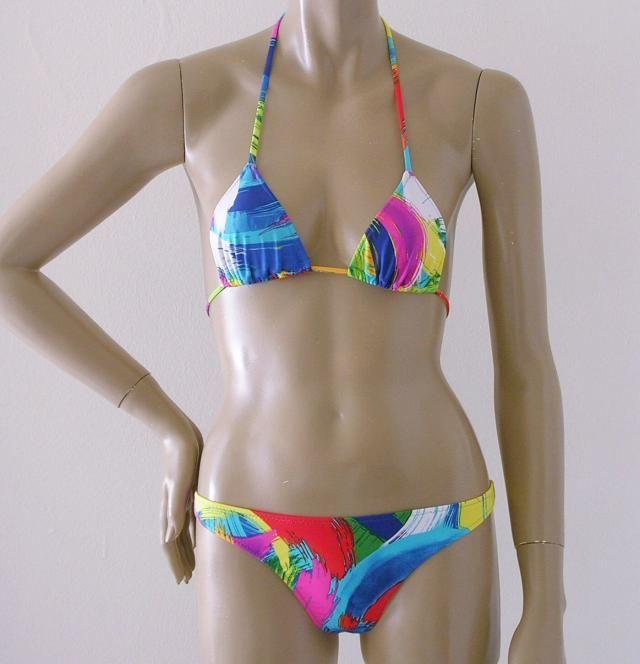 855418f3d6 Thong Bikini Bottom and Triangle Top in Brushstroke Print in Bra Sizes to DD
