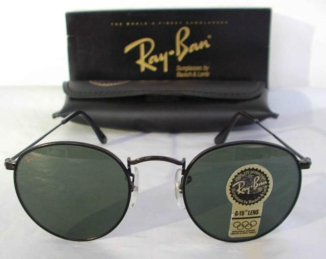 ae52f49994 New Vintage B L Ray Ban Classic Metals Small Round Metal Black G-15 47mm  W1574