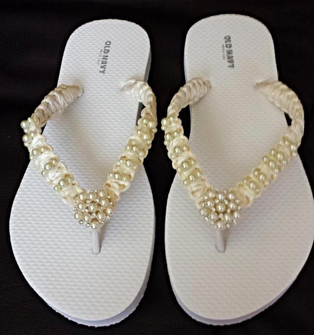 afe53172dd3525 Ivory Wedding Beach Flip Flops. Pearls flip flops bride flip flops. Wedding  Party