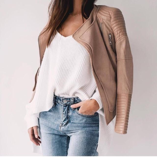 You can match literally everything with beige leather jacket