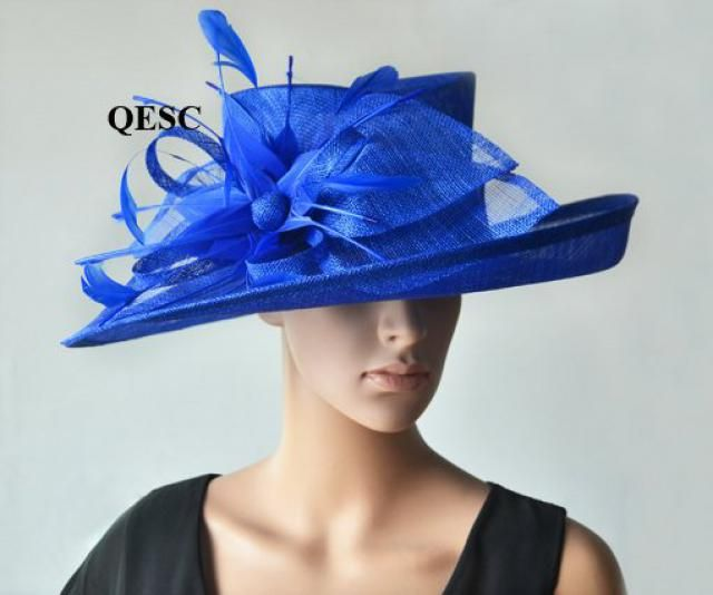 94371a90 Cobalt blue hat large dress church sinamay hat fascinator with feather  flower,for Kentucky derby