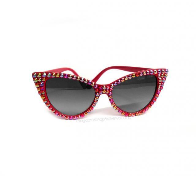 7d86f802a14b SUNSET Red Rainbow Bling Cat Eye Sunglasses Sparkly Sunglasses Glitzy  Rhinestone Cats Eye Glasses Retro Pin