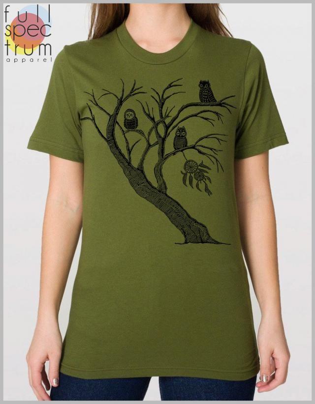 d9ac6ec6aec Dreamcatcher Tree Owls T Shirt Nature Unisex Tshirt American Apparel XS