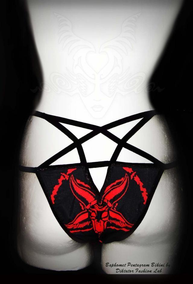 03306512ae Baphomet Bikini 666 Pentagram Swimsuit Heavy Metal Panties Occult Goth  Swimwear Satanic Witch Beach Side Tie