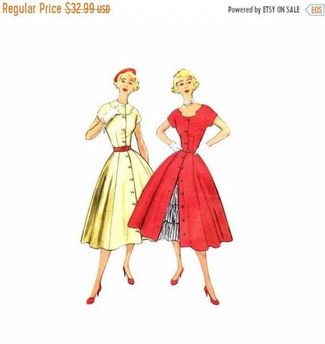 d2377917c SALE 1950s Misses Full Skirt Dress Ruffled Petticoat Simplicity 3815  Vintage Sewing Pattern Size 16 Bust