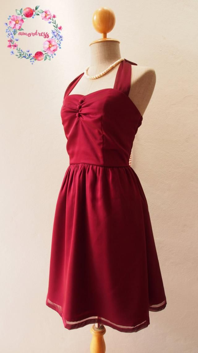 bf440f2094c4 Christmas Dress Red Wine Dress Burgundy Dress Vintage Inspired Blood Red  Party Prom Dress Evening dress
