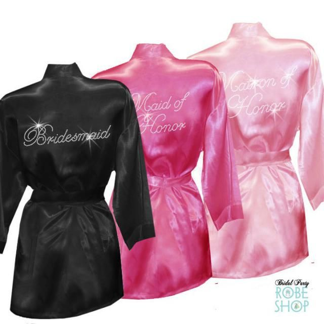 Set of 10 Bridal Party Satin Robes with Rhinestone Crystals aa1aa5d76
