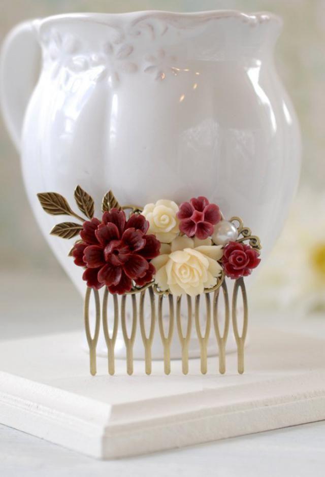 fd0c6f456994 Maroon Burgundy Marsala Dark Red Ivory Flowers Hair Comb Brass Leaf Hair  Comb