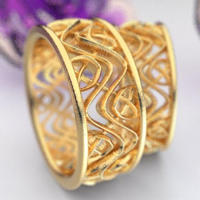 10k or 14k Solid Gold Tri-color Flower Rose Filigree Ring