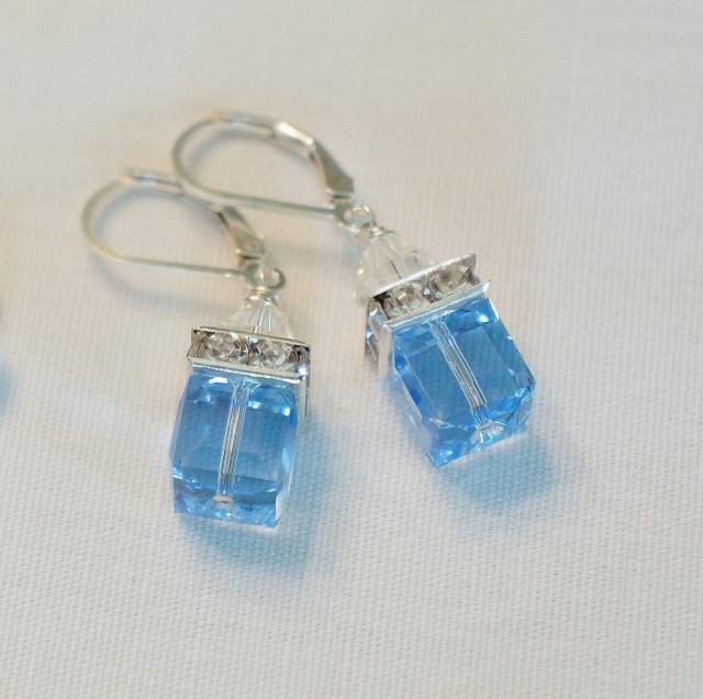 99eb03e6b Blue Earrings Bridesmaid Earrings Gift Color Choice Crystal Earrings  Swarovski Crystal Modern Wedding Jewelry, Dangle