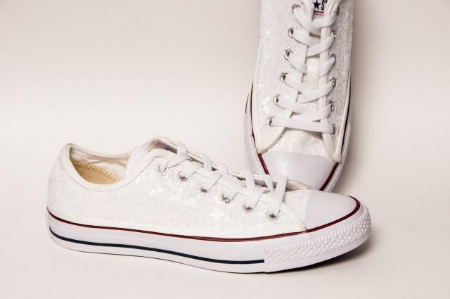3265bd87ea58 Tiny Sequin - Starlight Perfectly White Converse® All Star Hi Top Canvas  Sneakers Shoes