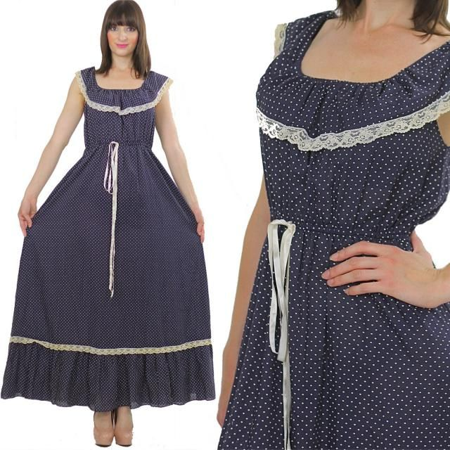 6318b60a00 Prairie peasant dress 70s maxi navy blue Bohemian sleeveless lace scoop  neck long gypsy festival maxi