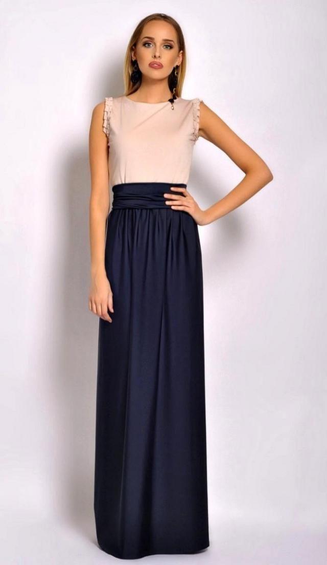 0196a8dcc39 Two Colors Maxi Dress /Round Neckline Sleeveless Pockets Sash Ivory- Navy  Blue Long Dress