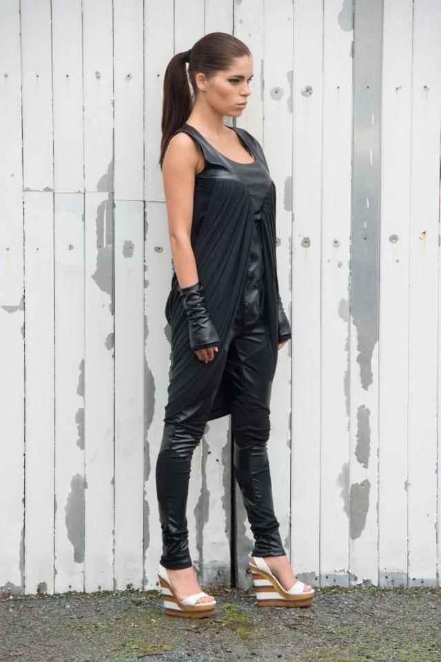a8cdcd3be79 Extravagant Draped Black Leather Tunic   Asymmetric Black Top   Plus Size  Long Vest by METAMORPHOZA