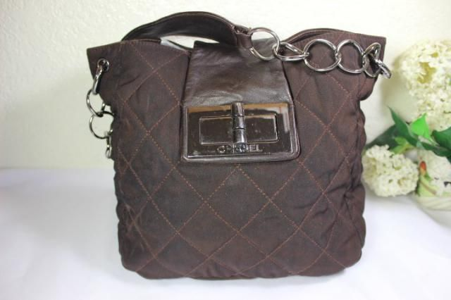 36ae5122956 90&;s CHANEL Brown Quilted Canvas Thick Chain Strap Shoulder Bag Tote  France 9197357