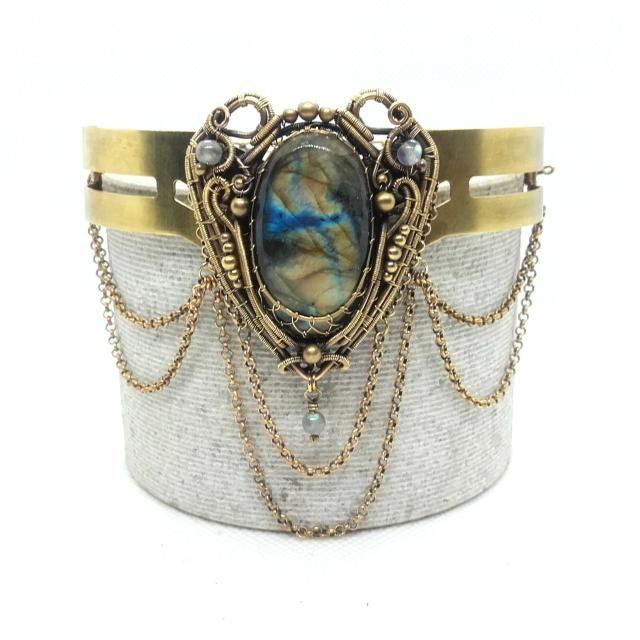 772f38c1487 Bohemian Cuff Bracelet- Labradorite Arm Cuff With Chains - Bronze Armlet -  Victorian Gothic -. #arm chains #armlet jewelry #body ...