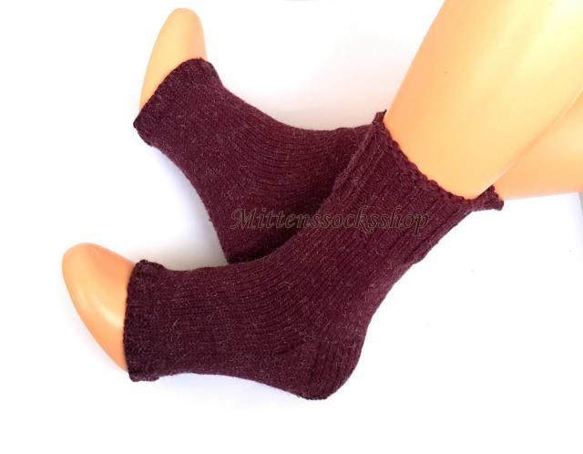 d8060b106525c Cherry Red Hand Kitted Yoga Socks with Heel Flip Flop Socks Knitted Socks  Summer Socks Dance