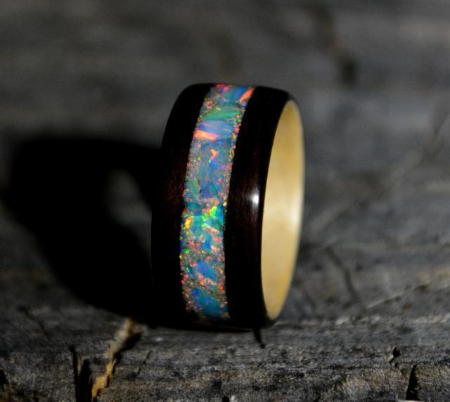 1f3ba0668dbb Bentwood ebony ring | opal wooden ring | wood wedding band | wood inlay  ring