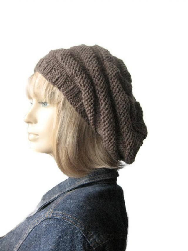 591a6d4c490618 Taupe Heather Hand Knit Hat, Beehive Beret, Vegan Hat, Taupe Knit Beret,